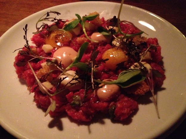 Beef tartare with quail's eggs